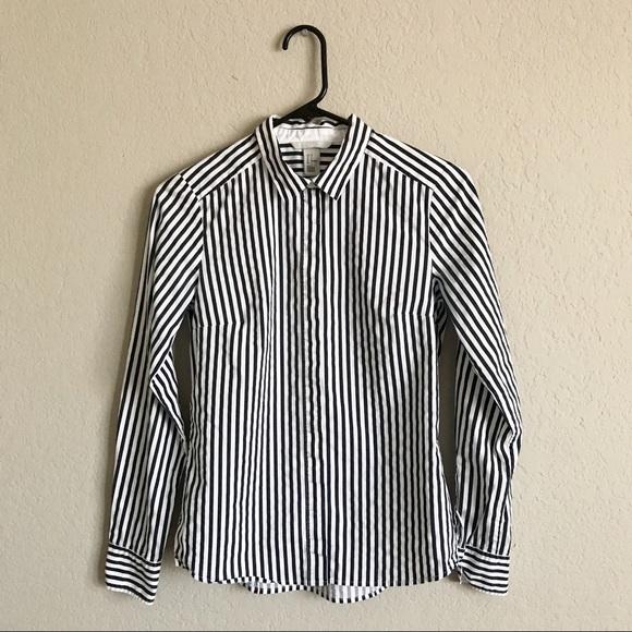 086cd347ae H&M Tops   Hm White N Navy Vertical Striped Shirt 6   Poshmark